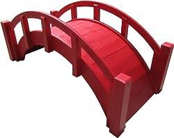 SAMS-Pavillons Miniatur-Gartenbrücke aus japanischem Holz, 63,5 cm, Rot