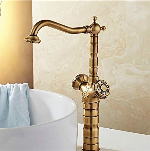 ROKTONG Faucet Antique Brass Double Handle High Foot Faucet
