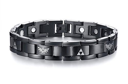 Vnox Negro de Acero Inoxidable The Legend of Zelda Triforce Brazalete Pulseras de Terapia Magnética para Hombres, Herramienta Ajustable
