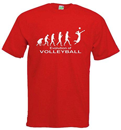 Evolution Volleyball T-Shirt | Sport Vereine Beach Turnier Netz Trainingslager | Premiumshirt von Bimaxx® Rot