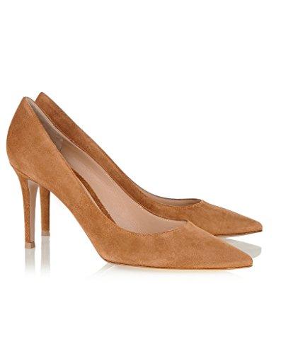 EDEFS - Escarpins Femme - Chaussures à Talons Hauts - Bout Pointu fermé - Classique Bureau Soiree brown