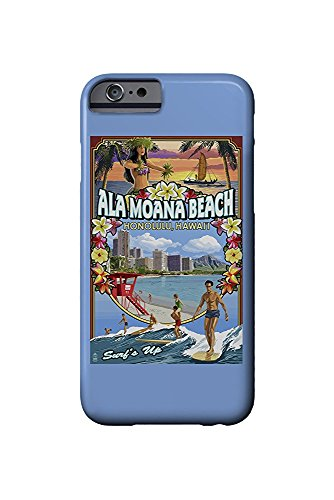 Ala Moana Beach - Honolulu, Hawai'i - Montage Scene (iPhone 6 Cell Phone Case, Slim Barely There)