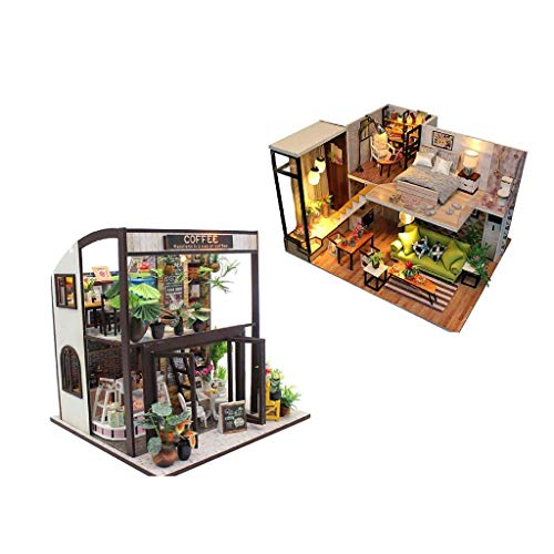 FLAMEER 2er Puppenhaus Modell Set, Miniatur Dollhouse DIY Kit aus Holz für Jungen und Mädchen zum Spielen, Perfekt Geburtstag Weihnachts Geschenk