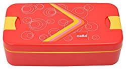 Cello Food Mate Plastic Lunch Box, 6 cm, 3-Piece, Red