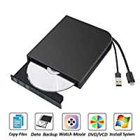 ‏‪External CD DVD Drive,Type C USB2.0 External CD Drive Portable DVD/CD RW Burner Optical CD/DVD RW Writer Recorder for Laptop PC HP ACER‬‏