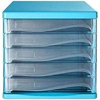 Met Love Archivador 5 Capas Almacenamiento de Oficina Cajonera de plástico Archivadores A4 Archivadores (Color : Blue)