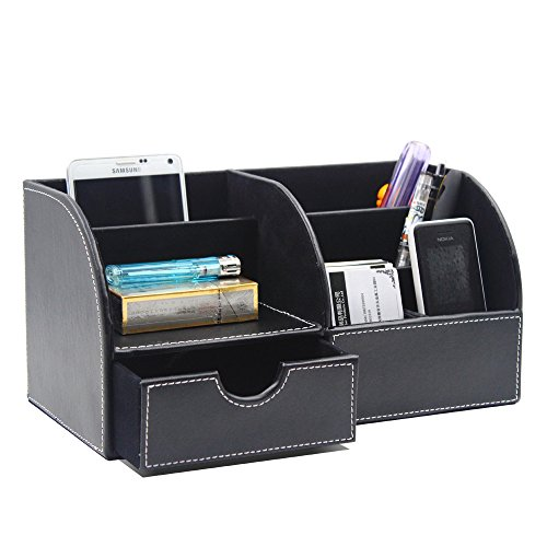 Scomparti multifunzione desktop in pelle Storage Box Desktop cancelleria Storage Box Collection, biglietto da visita/penna/matita/Cellulare/Remote Control Holder Desk Forniture Organizer... black - Desktop Hanging File