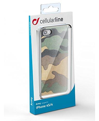 Cellular Line ARMYCIPHONE4S2 Coque camouflage pour Apple iPhone 4S Gris Vert
