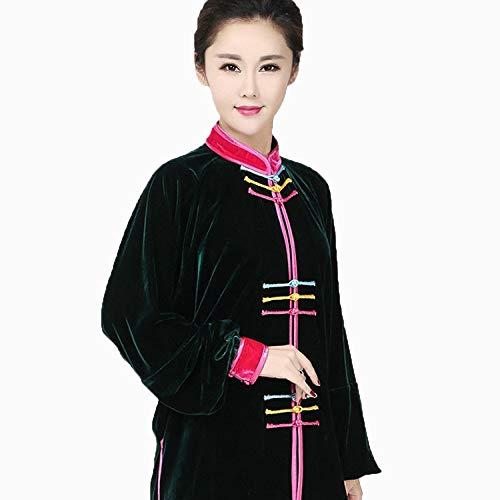 llh Donna Tai Chi Kung Fu Arti Marziali Cinesi Adulte Velluto Dorato Abito da Meditazione Zen Costume Tradizionale Antico Tang Manica Lunga Stile Cinese Classico,RoseRed2-XS