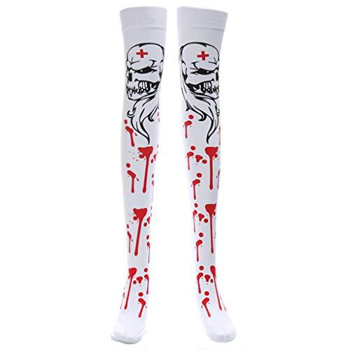Tandou Gothic Halloween Kostüm Strumpf BlutHorror Krankenschwester Zombie Oberschenkel Hoch Langsocke weiß
