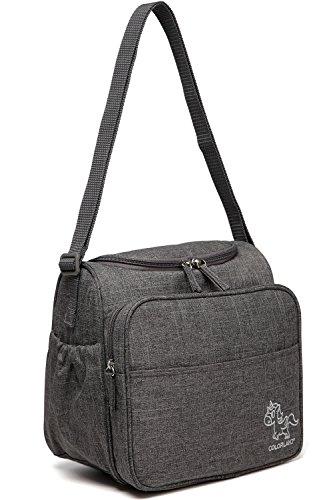 Mini Baby Wickeltasche Schultertasche, Multifunktions-Reise-Windel-Taschen für Männer Frauen mit Schultergurten, Isolierte Tasche (grau) grau