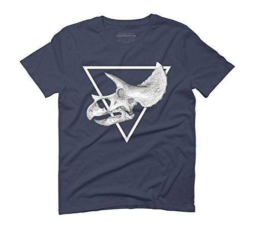 triceratops skull Men's Graphic T-Shirt - Design By Humans Navy