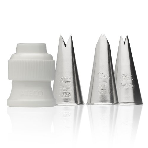 Ateco 382-4 Piece Leaf Decorating Tube Set, Includes Stainless Steel Tips: 67, 349, 352 & One Standard Coupler Ateco Cutter