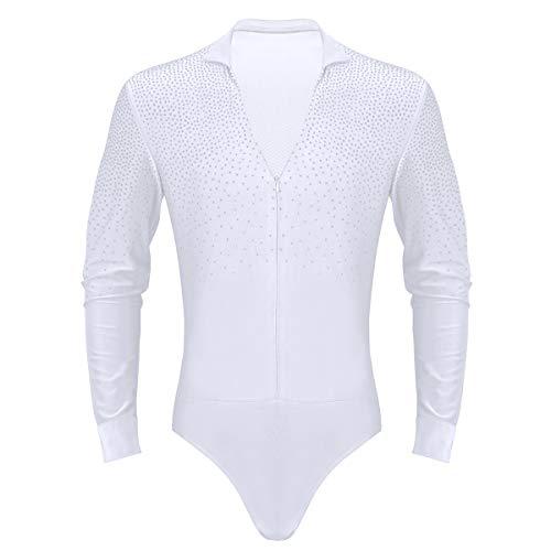 Salsa Kostüm Männer - dPois Herren Tanz Shirt Hemdbody Oberteile