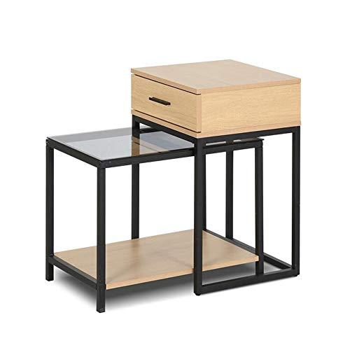 Desk Xiaolin Table d'appoint en Noyer Sofa latéral Snack Table de Salon Accent Bois Table d'appoint télescopique en boisVerre trempé Cadre en métal (Couleur : Couleur du Bois)