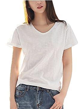 Suvotimo La Mujer Casual Verano Manga Corta Cuello En V Cotton T Shirt Tops Tee, Plus Size