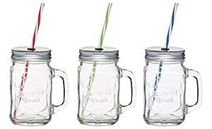glas mit deckel und strohhalm ice cold drink 3er set. Black Bedroom Furniture Sets. Home Design Ideas