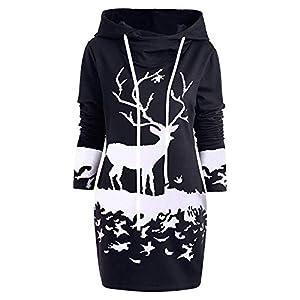 Damen Weihnachten Pullover Langarmshirt Rentier Hoodie Sweatshirt Frauen Kapuzenpullover mit Drawstring Slim Fit PulloverKleid Weihnachtspullover Tops Bluse