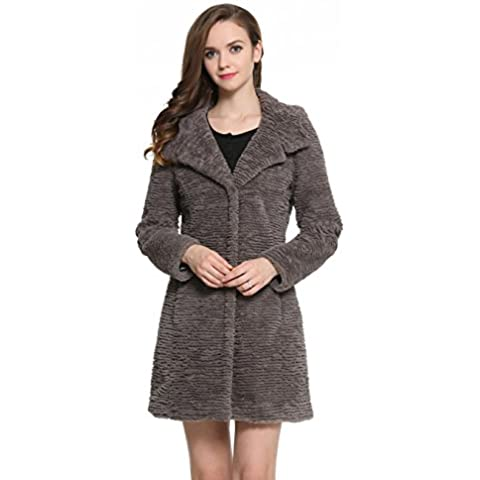 Ovonzo Abrigo de Piel Sintética de Karakul con Estilo de Moda Chaqueta Calentita con Capucha Para Mujer