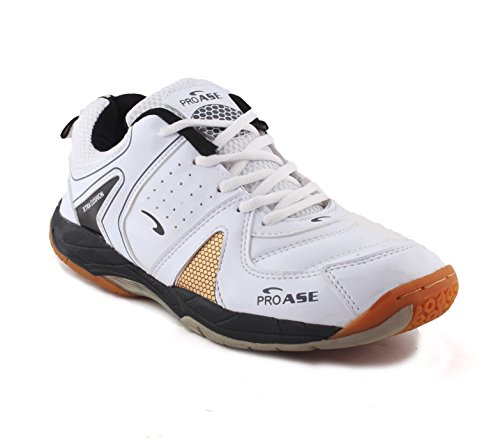ProASE Men's Synthetic Leather Badminton Shoes (White, 8 UK)