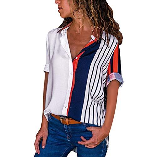 XuxMim Womens Casual Kurzarm Farbblock Stripe Button T Shirts Tops Bluse(Mehrfarbig,Medium)