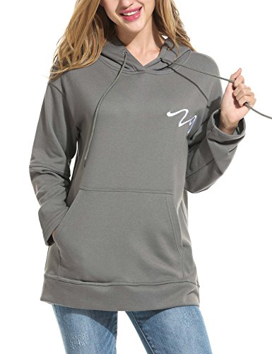 Zeagoo Damen lockerer Kapuzenpullover langarm Pulli Hoodie Sweatshirt mit gesticktem Logo Känguruhtasche Kapuze mit Kordelzug (Grau, M) -