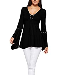 619f6e3d72b3 IMJONO Damen Women es Flare Ärmel Solid Bandge Shirt Casual Bluse Loose  Cotton Tops T-