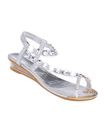 Yiiquan boemia sandali donna moda del rhinestone spiaggia di estate piatto scarpe argento eu 38/38.5