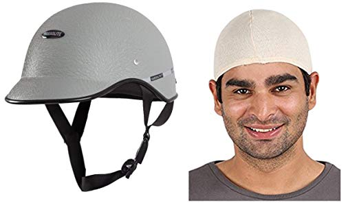 Habsolite All Purpose Safety Helmet with Strap (Grey, Free Size) and Autofy Unisex Multipurpose Hair Protector Dust Pollution Skull Cap (Biege) Bundle