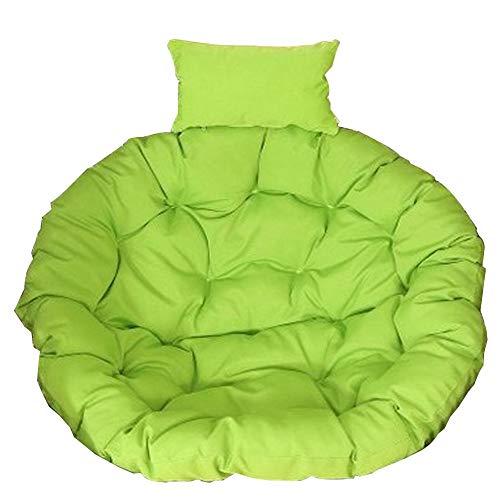 Runde Patio Kissen (SXFYHXY Schwingen Sie Stuhl-Kissen, runde Patio-Garten-Flechtweiden-hängendes Ei-Rattan-Stuhl-Hängematten-Auflage Innen oder im Freien,Green,105X105CM)