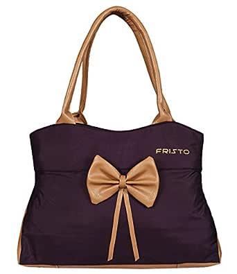 Fristo Women's Handbag (Purple and Beige)