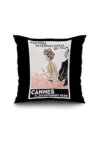 France - Cannes - Festival International du Film - 1939 - (artist: Domergue c. 1939) - Vintage Advertisement (20x20 Spun Polyester Pillow Case, Black Border)