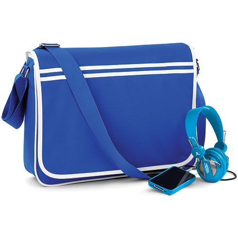 BAGBASE FUNKY RETRO MESSENGER BAG (4 COLS) (ROYAL/WHITE) (Rucksack Ugg)