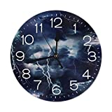 Uosliks Storm Lightning Orologio da Parete Silent Non Ticking, Round Easy to Read for Home Office School Clock