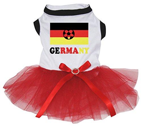 Petitebelle Hunde, Welpen, Kleidung, Flaggen von Deutschland, Weiß, Baumwolle, Spitze Kleid mit Tutu (Spanisch-spitze-kleid)