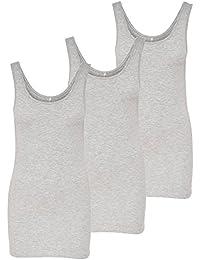 ONLY 3er Pack Damen Oberteile Basic Tank Tops weiß, schwarz, grau, blau, Creme Frauen Shirt lang Sommer Shirts Top 15201465