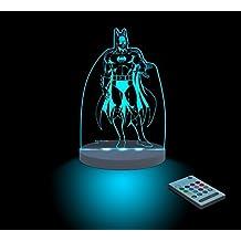 FUNLIGHTS Batman Lámpara Bebé LED Multicolor con Mando. Elige el Color, Intensidad, Temporizador, Arco-iris y ¡mucho más!