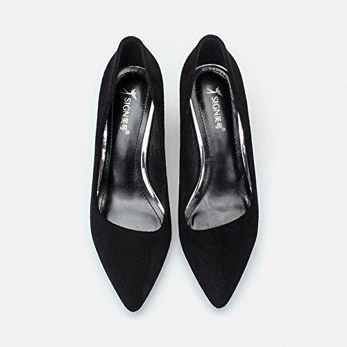 Damen Pumps Slip On Spitz Zehen Arbeitschuhe Blockabsatz OL Elegant Party Schuhe Schwarz,Nubukleder