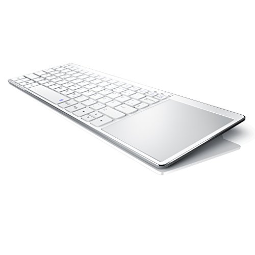 CSL - Slim Tastatur mit Touchpad | Wireless 2,4 Ghz Funk Multimedia Keyboard im Slim Design | Multitouch-Gestensteuerung | QWERTZ | 80 Tasten | Neues Modell 2019 inkl. USB-Verlängerungskabel | weiß - Wireless Tastatur Mit Touchpad