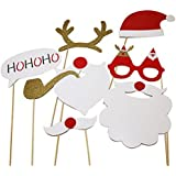 8pcs Christmas Photo Booth Props DIY Kit For Party Supplies Featuring Glasses Moustache Deer Horn Santa Hat
