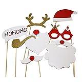 Pixnor 8ST Weihnachten DIY Photobooth Requisiten Gläser Schnurrbart Hirsch Horn Weihnachtsmütze Geschenk Stick Weihnachtsfeier