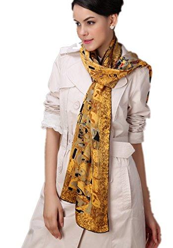 Prettystern p023 - gustav klimt stile liberty dipinto arrotolato a mano pesante sciarpa raso di seta - oro adele / adele bloch-bauer i