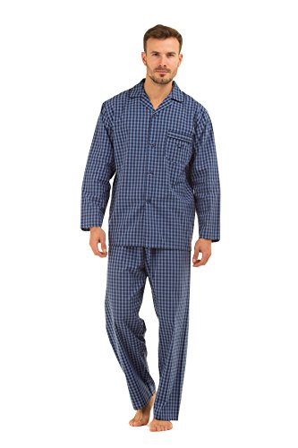 Herren HAIGMAN bedruckt 100% Baumwolle lang Pyjama Nachtwäsche Lounge Wear fein marineblau Karomuster