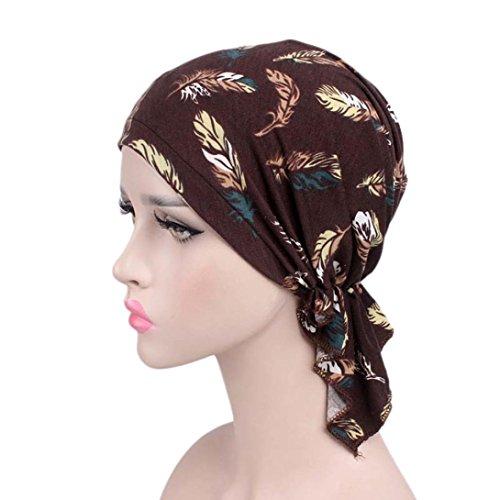 Mitlfuny Frauen Indien Muslim Elastische Turban PrintTurban Stirnband Plissee Head Wrap Hijab Tube Schal Arab Laser Gewickelt Hut Baumwollhut ()