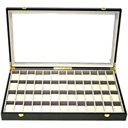 Woolux Chest for 52 Watches with Glass Front, Wood, Mahogany Effect
