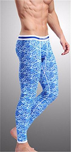 Johns Lunghi Pantaloni Termici Stretto Biancheria Intima Sottile Caldo Legging Uomini Nuovi Stampati Di Bluelover
