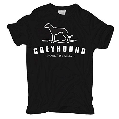 Männer und Herren T-Shirt Greyhound - Familie ist alles Größe S - 8XL Schwarz