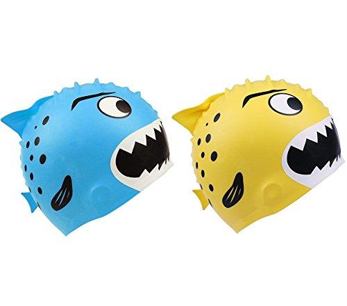 Sealen kids fun silicone swim tappi, fish pattern design toddler nuoto tappi per bambini, pesciolini sharks sartoon fish cute swim cappelli, swim cap shark b/y, 2 pack shark (blue + yellow), taglia unica