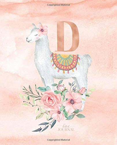 """Dotted Journal: Dotted Grid Bullet Notebook Journal Llama Alpaca Rose Gold Monogram Letter D with Pink Flowers (7.5"""" x 9.25"""") for Women Teens Girls and Kids por Cute Little Journals"""