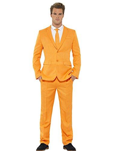 Herren Orange Designer Anzug Abgehobener Smiffys Mittlere Und Große - Orange, L (Zwei-knopf-single Herren)